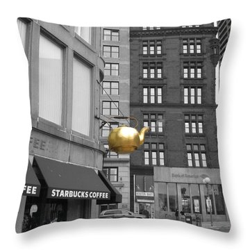 Boston Golden Teapot Throw Pillow by Cheryl Del Toro