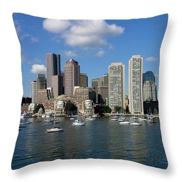 Boston Habor Skyline Throw Pillow