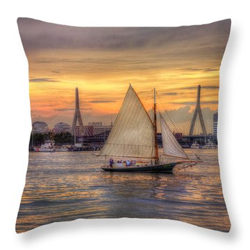 Boston Harbor Sunset Sail Throw Pillow