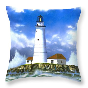 Boston Light Throw Pillow by MGL Studio - Chris Hiett