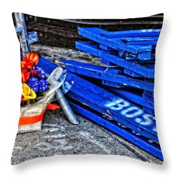Boston Marathon Blues Throw Pillow by Mike Martin