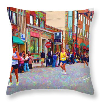 Boston Marathon Mile Twenty Two Throw Pillow by Barbara McDevitt