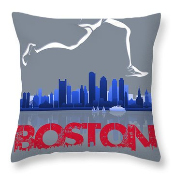 Boston Marathon3 Throw Pillow