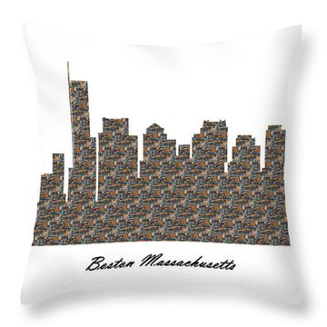 Boston Massachusetts 3d Stone Wall Skyline Throw Pillow