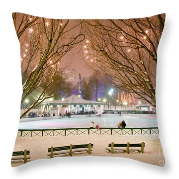 Boston New Year Skate Throw Pillow by Susan Cole Kelly
