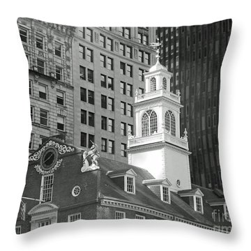 Boston Old State House Throw Pillow by Cheryl Del Toro