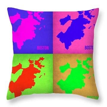 Boston Pop Art Map 1 Throw Pillow by Naxart Studio