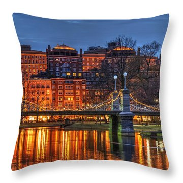 Boston Public Garden Lagoon Throw Pillow
