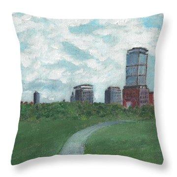 Boston Skyline 1968 Throw Pillow by Cliff Wilson