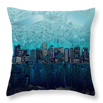 Boston Skyline Abstract Blue Throw Pillow