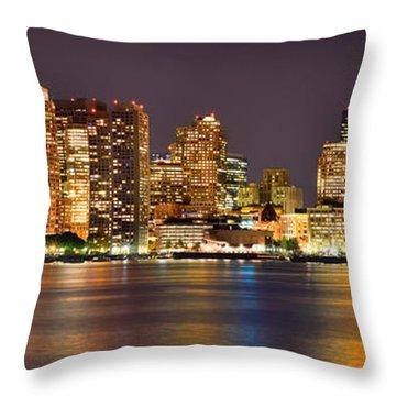 Boston Skyline At Night Panorama Throw Pillow