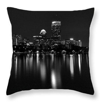 Boston Skyline By Night - Black And White Throw Pillow