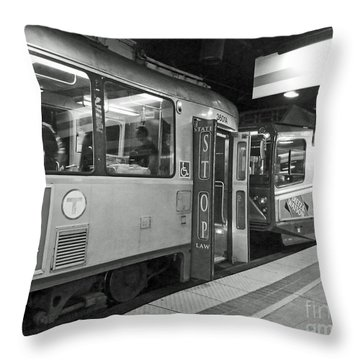 Throw Pillow featuring the photograph Boston Subway by Cheryl Del Toro