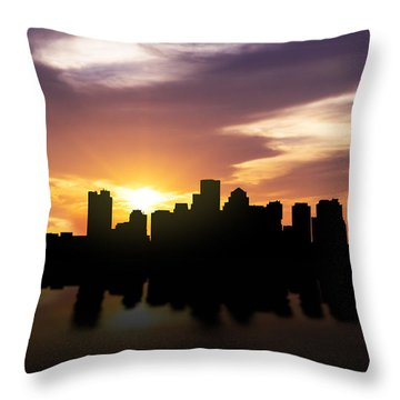 Boston Sunset Skyline  Throw Pillow