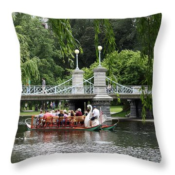 Boston Swan Boat Throw Pillow by Christiane Schulze Art And Photography