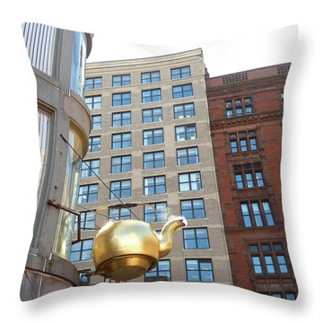 Boston Teapot - Color Throw Pillow