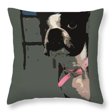 Throw Pillow featuring the digital art Boston Terrier Art01 by Donald Williams