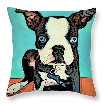Boston Terrier - Blue Throw Pillow by Rebecca Korpita