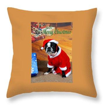Boston Terrier Christmas Throw Pillow