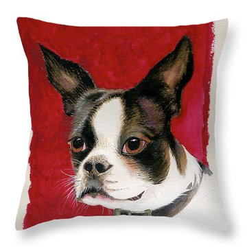 Throw Pillow featuring the painting Boston Terrier Dog by Nan Wright