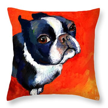 Boston Terrier Dog Painting Prints Throw Pillow