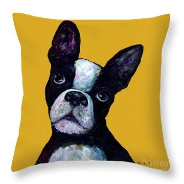 Boston Terrier On Yellow Throw Pillow