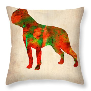 Boston Terrier Poster Throw Pillow