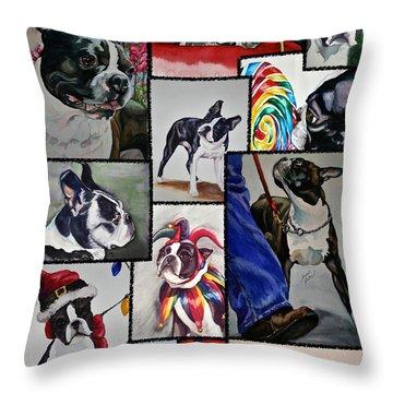 Boston Terrier Watercolor Collage Throw Pillow