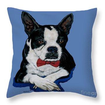 Boston Terrier With A Bowtie Throw Pillow
