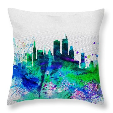 Boston Watercolor Skyline Throw Pillow by Naxart Studio