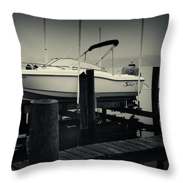 Boston Whaler In The Fog Throw Pillow