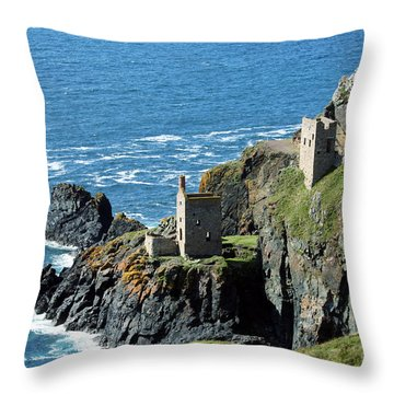 Botallack Crown Engine Houses Cornwall Throw Pillow by Terri Waters