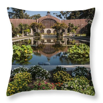 Botanical Building Reflecting In The Lily Pond At Balboa Park Throw Pillow