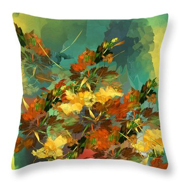 Throw Pillow featuring the digital art Botanical Fantasy 090914 by David Lane