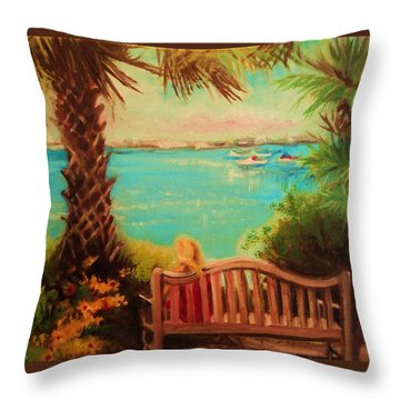 Throw Pillow featuring the painting Botanical View by Yolanda Rodriguez