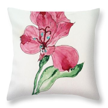 Throw Pillow featuring the painting Botanical Work by Rand Swift
