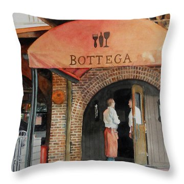 Throw Pillow featuring the painting Bottega by Gail Chandler