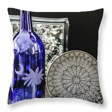Bottle And Plate Throw Pillow