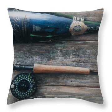 Bottle And Rod I Throw Pillow by Lincoln Seligman