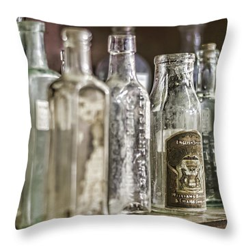 Bottle Collection Throw Pillow by Heather Applegate