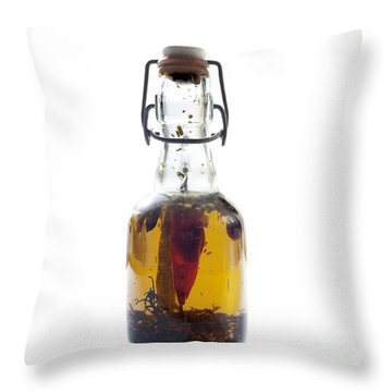 Bottle Of Oil Throw Pillow by Bernard Jaubert