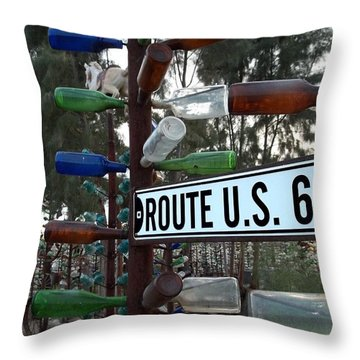 Bottle Trees Route 66 Throw Pillow
