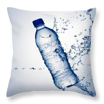 Bottle Water And Splash Throw Pillow by Johan Swanepoel