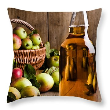 Bottled Cider With Apples Throw Pillow by Amanda Elwell