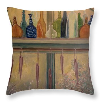 Bottles And Candle Window Throw Pillow by Gretchen Allen