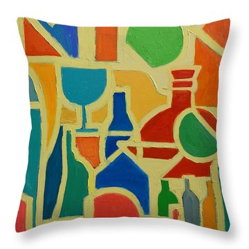 Bottles And Glasses 2 Throw Pillow by Ana Maria Edulescu