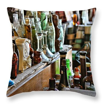 Bottles In The Old Stuff Shop Throw Pillow
