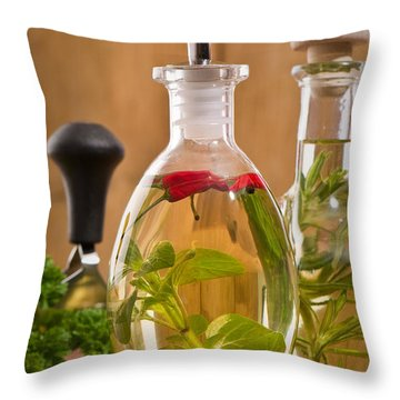 Bottles Of Olive Oil Throw Pillow by Amanda Elwell