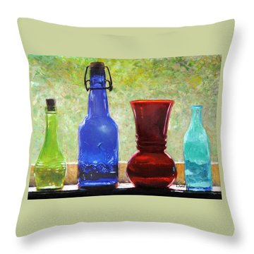 Da142 Bottles Of Time Daniel Adams Throw Pillow