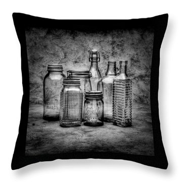 Bottles Throw Pillow by Timothy Bischoff